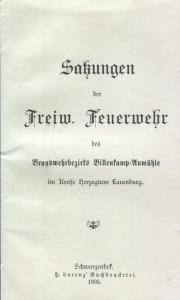 Die Satzungen der Freiwilligen Feuerwehr Aumühle von 1905