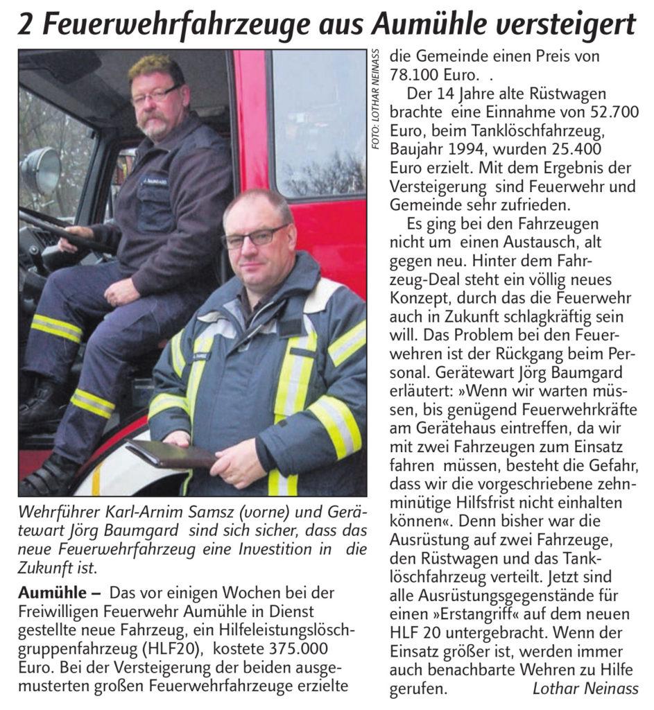 """""""2 Feuerwehrfahrzeuge aus Aumühle versteigert"""" - Artikel aus dem """"DerReinbeker"""" vom 26.04.2016"""